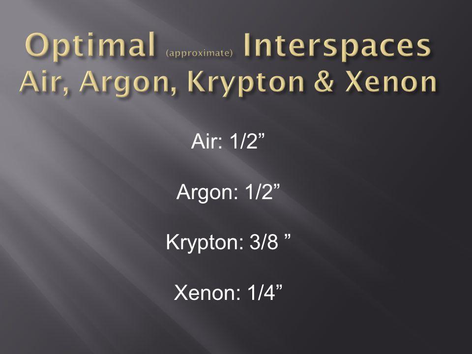 """Air: 1/2"""" Argon: 1/2"""" Krypton: 3/8 """" Xenon: 1/4"""""""
