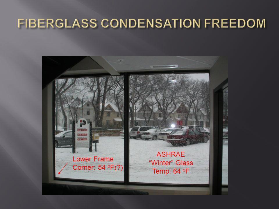"ASHRAE ""Winter"" Glass Temp: 64 o F Lower Frame Corner: 54 o F(?)"