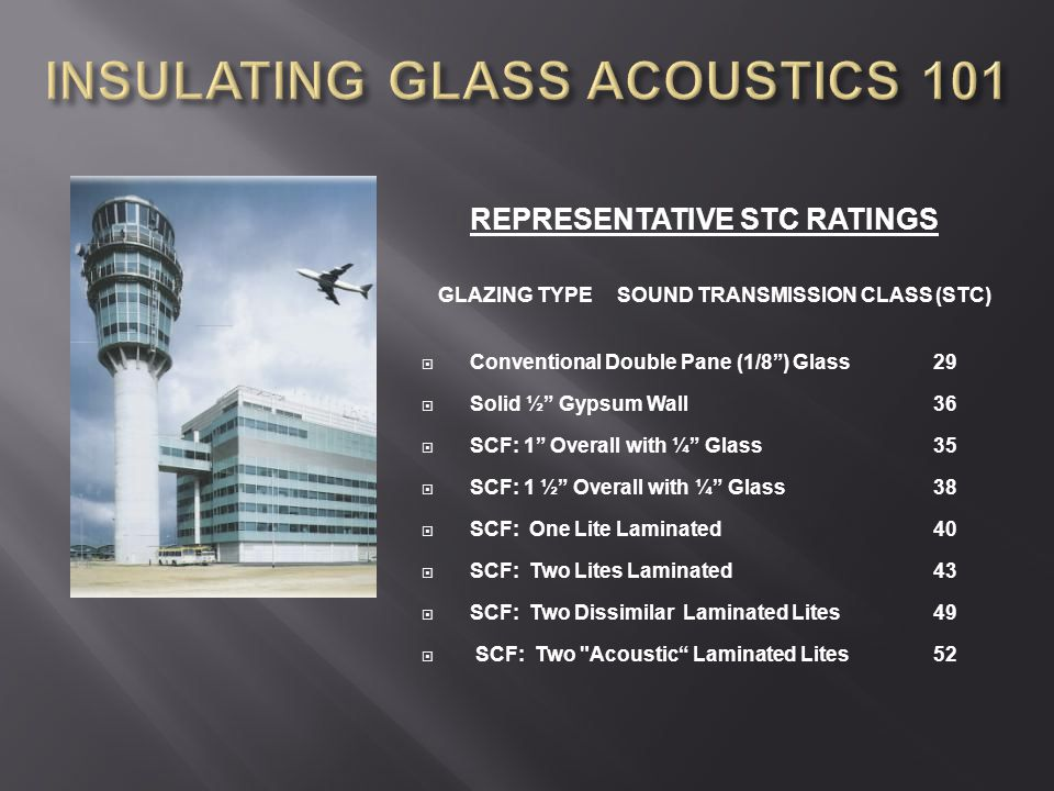 """REPRESENTATIVE STC RATINGS GLAZING TYPESOUND TRANSMISSION CLASS (STC)  Conventional Double Pane (1/8"""") Glass29  Solid ½"""" Gypsum Wall36  SCF: 1"""" Ove"""