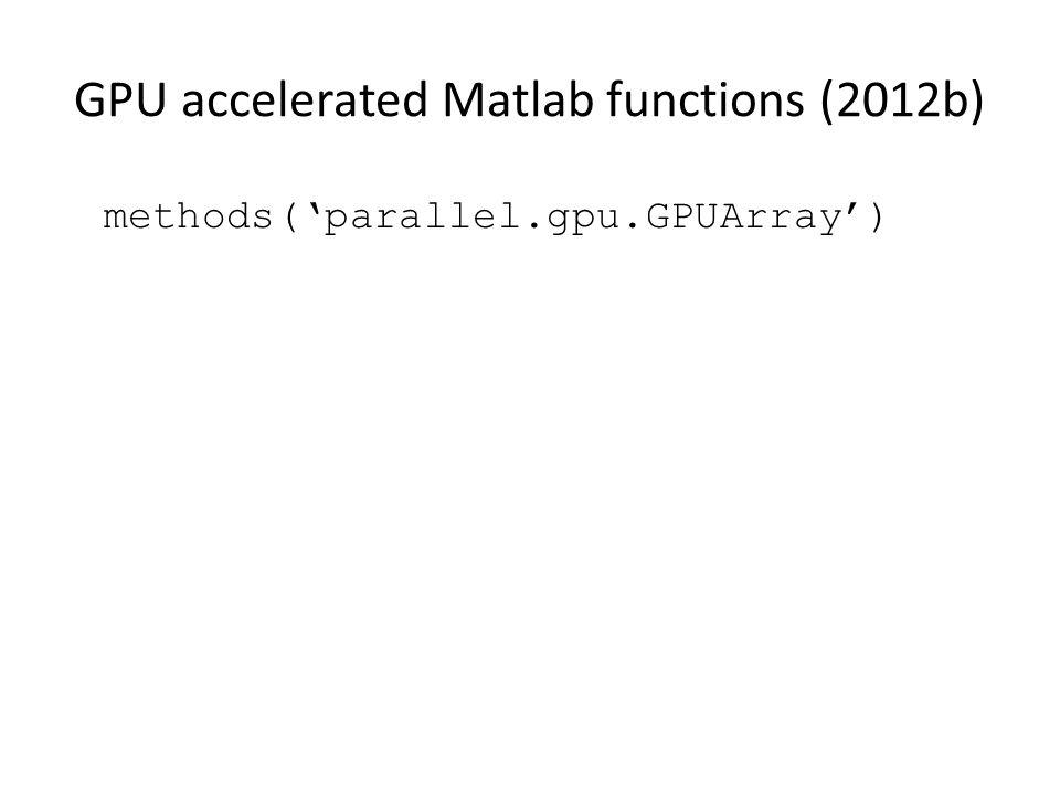 GPU accelerated Matlab functions (2012b) methods('parallel.gpu.GPUArray')