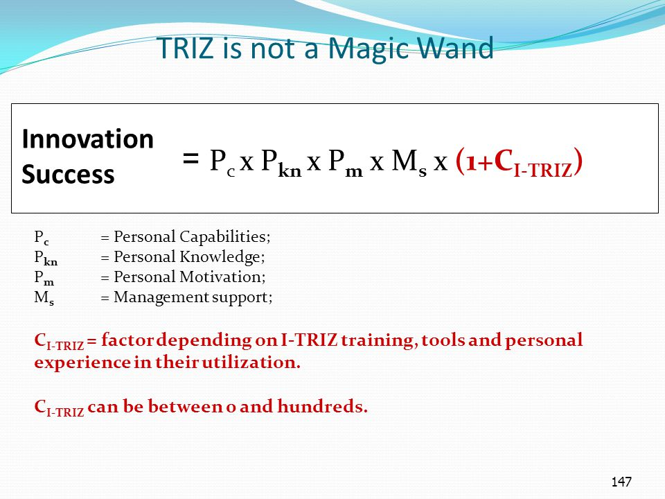 147 P c = Personal Capabilities; P kn = Personal Knowledge; P m = Personal Motivation; M s = Management support; C I-TRIZ = factor depending on I-TRIZ training, tools and personal experience in their utilization.