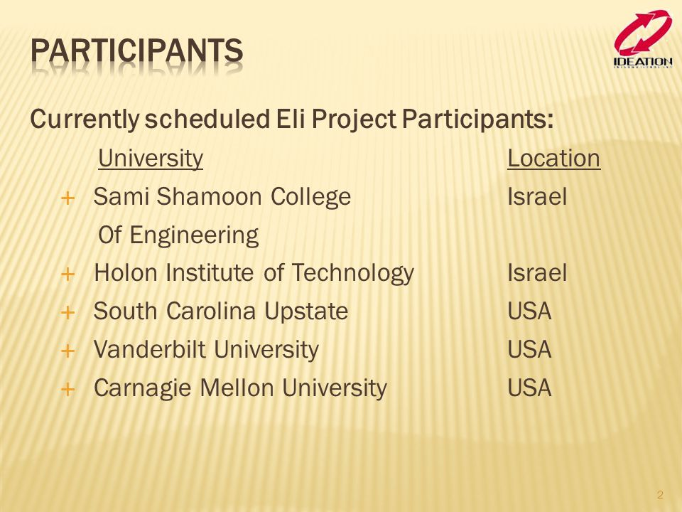 Currently scheduled Eli Project Participants: University Location  Sami Shamoon College Israel Of Engineering  Holon Institute of TechnologyIsrael 