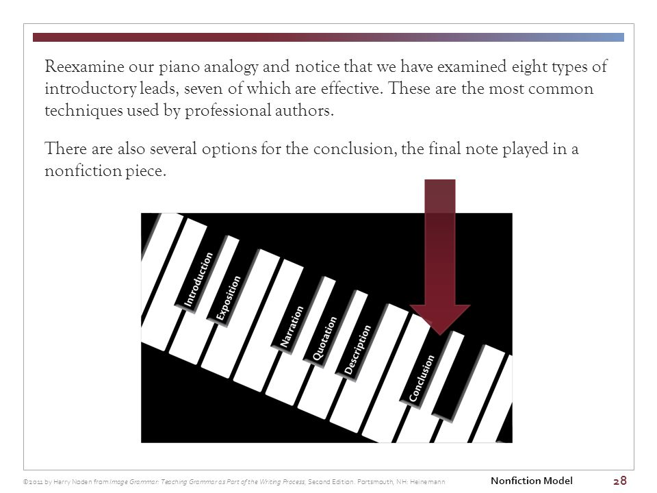 28 Reexamine our piano analogy and notice that we have examined eight types of introductory leads, seven of which are effective.