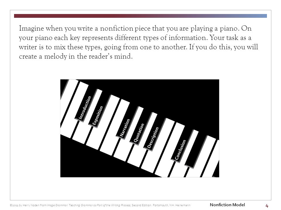 4 Imagine when you write a nonfiction piece that you are playing a piano.