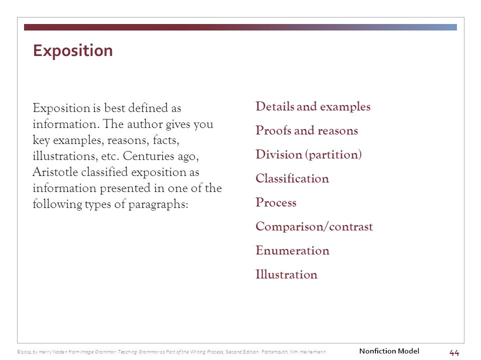 44 Exposition is best defined as information.