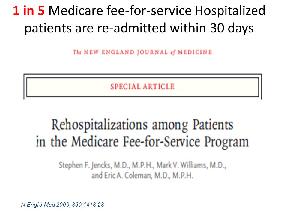 N Engl J Med 2009; 360:1418-28 1 in 5 Medicare fee-for-service Hospitalized patients are re-admitted within 30 days