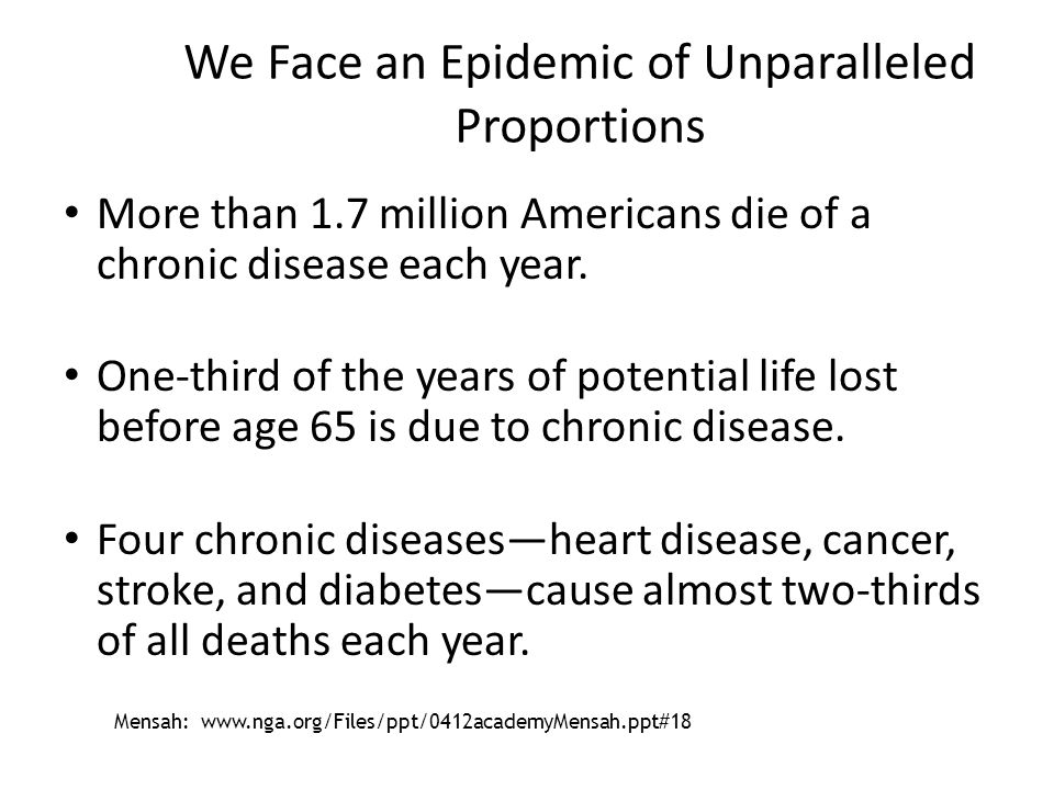 We Face an Epidemic of Unparalleled Proportions More than 1.7 million Americans die of a chronic disease each year. One-third of the years of potentia