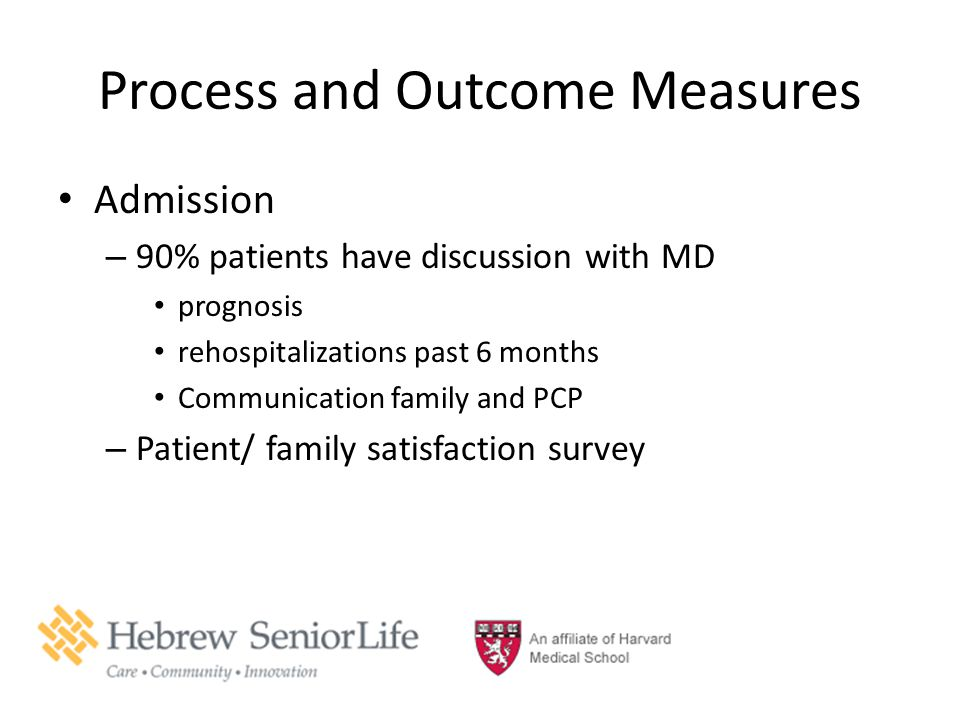 Process and Outcome Measures Admission – 90% patients have discussion with MD prognosis rehospitalizations past 6 months Communication family and PCP