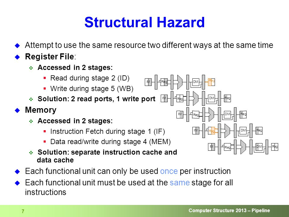 Computer Structure 2013 – Pipeline 7 Structural Hazard  Attempt to use the same resource two different ways at the same time  Register File:  Accessed in 2 stages:  Read during stage 2 (ID)  Write during stage 5 (WB)  Solution: 2 read ports, 1 write port  Memory  Accessed in 2 stages:  Instruction Fetch during stage 1 (IF)  Data read/write during stage 4 (MEM)  Solution: separate instruction cache and data cache  Each functional unit can only be used once per instruction  Each functional unit must be used at the same stage for all instructions
