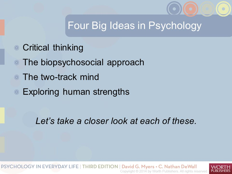 Four Big Ideas in Psychology Critical thinking The biopsychosocial approach The two-track mind Exploring human strengths Let's take a closer look at each of these.