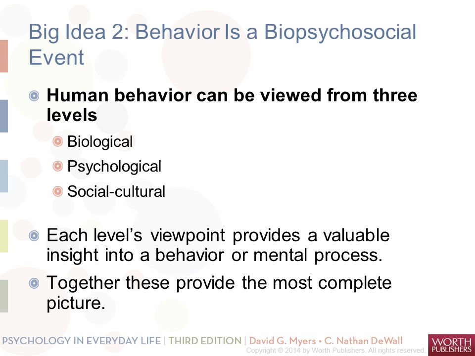 Big Idea 2: Behavior Is a Biopsychosocial Event Human behavior can be viewed from three levels Biological Psychological Social-cultural Each level's viewpoint provides a valuable insight into a behavior or mental process.