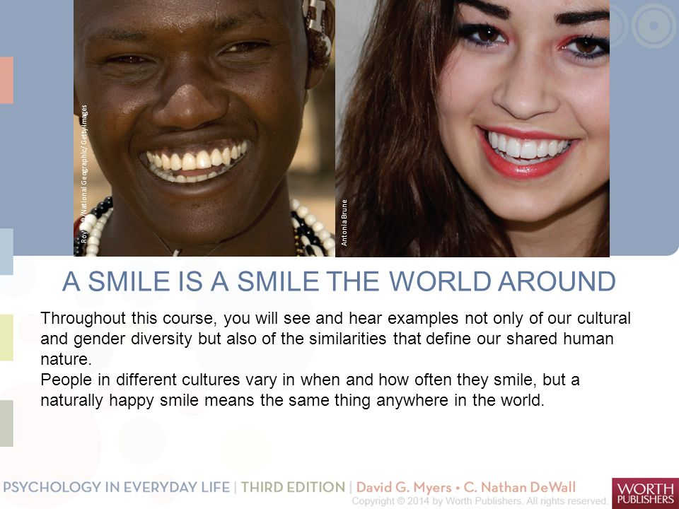 A SMILE IS A SMILE THE WORLD AROUND Throughout this course, you will see and hear examples not only of our cultural and gender diversity but also of the similarities that define our shared human nature.
