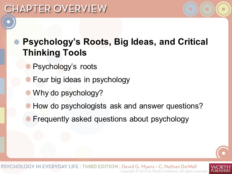Psychology's Roots, Big Ideas, and Critical Thinking Tools Psychology's roots Four big ideas in psychology Why do psychology.
