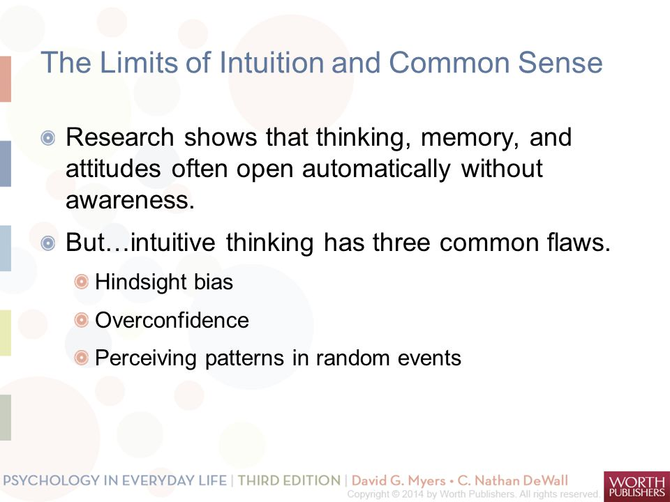 The Limits of Intuition and Common Sense Research shows that thinking, memory, and attitudes often open automatically without awareness. But…intuitive
