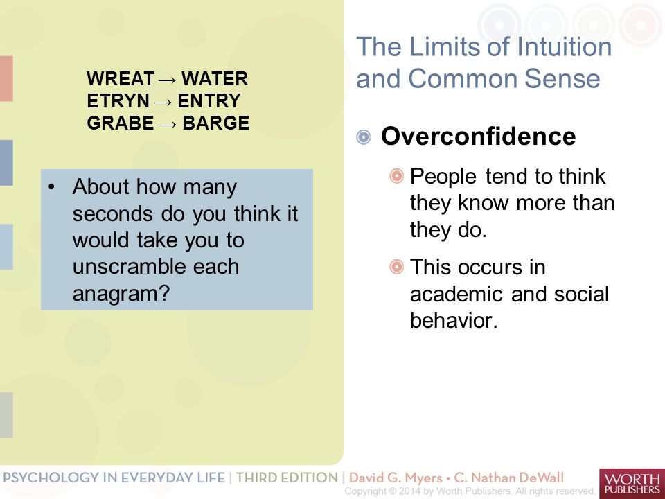 The Limits of Intuition and Common Sense Overconfidence People tend to think they know more than they do.