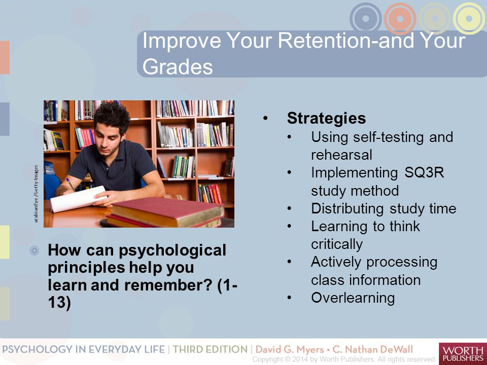 Improve Your Retention-and Your Grades How can psychological principles help you learn and remember? (1- 13) Strategies Using self-testing and rehears
