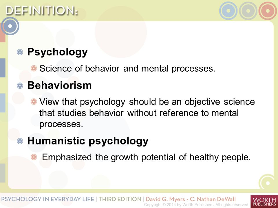 Psychology Science of behavior and mental processes. Behaviorism View that psychology should be an objective science that studies behavior without ref