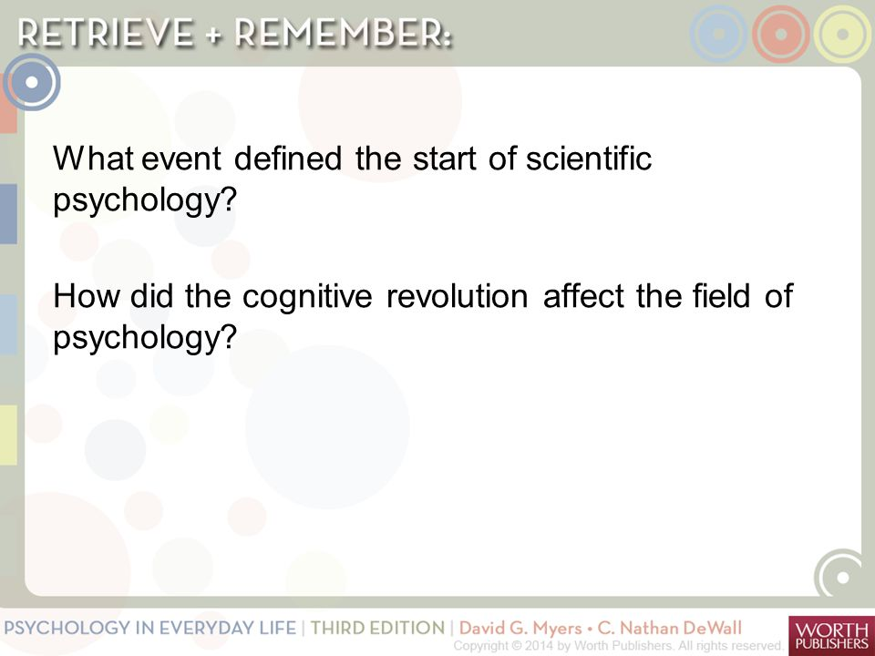 What event defined the start of scientific psychology? How did the cognitive revolution affect the field of psychology?
