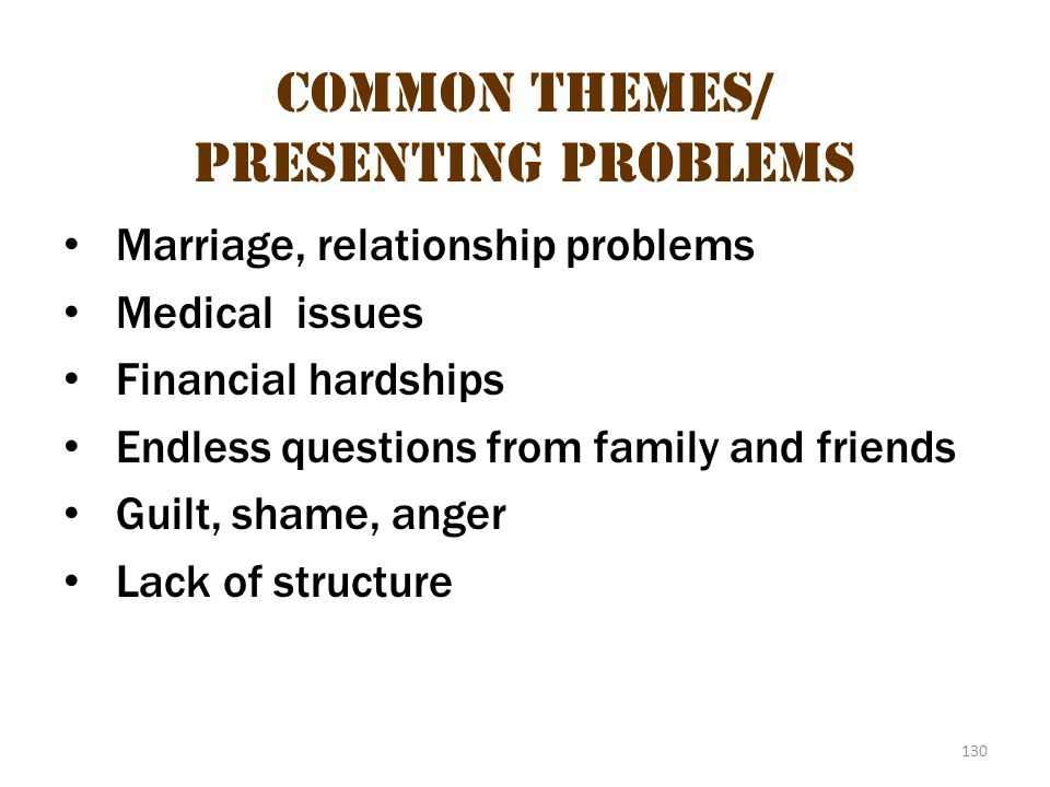 130 Common Themes/ Presenting Problems Marriage, relationship problems Medical issues Financial hardships Endless questions from family and friends Gu