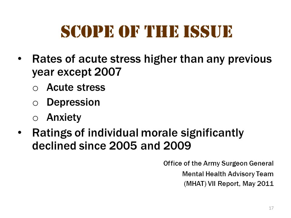 17 Scope of the Issue Rates of acute stress higher than any previous year except 2007 o Acute stress o Depression o Anxiety Ratings of individual mora