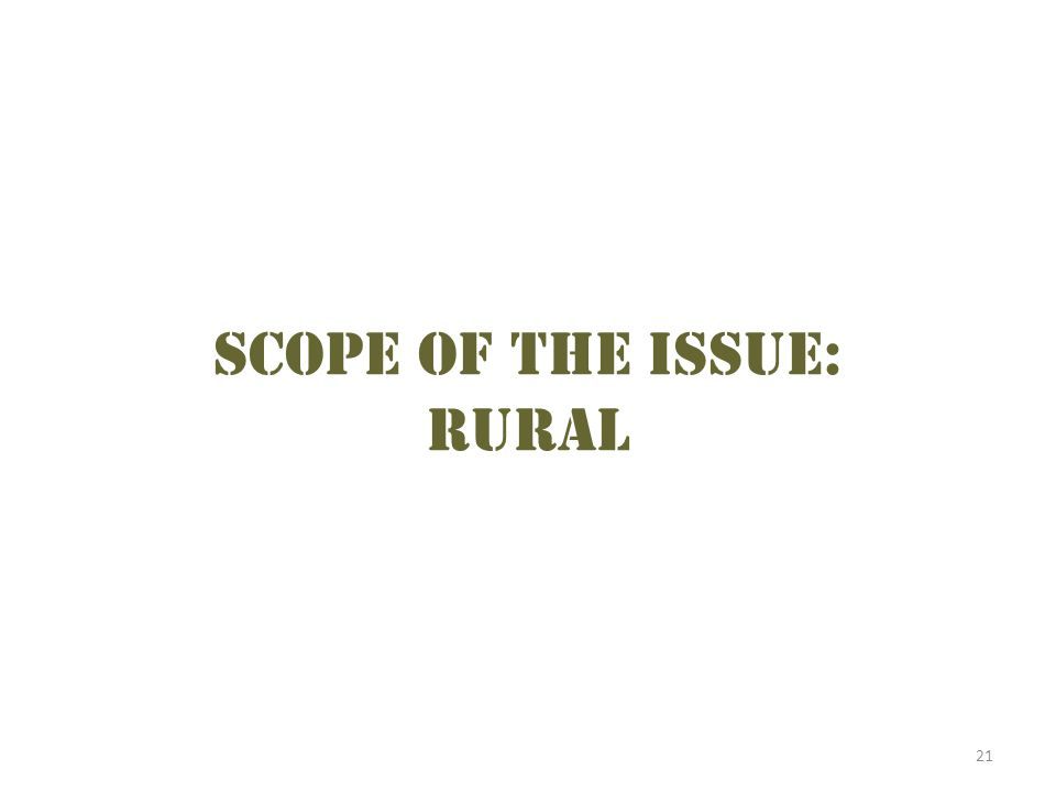 21 Scope of the issue: Rural
