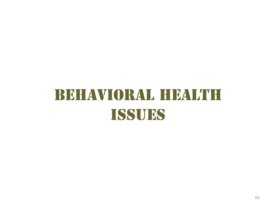 Behavioral health issues 66