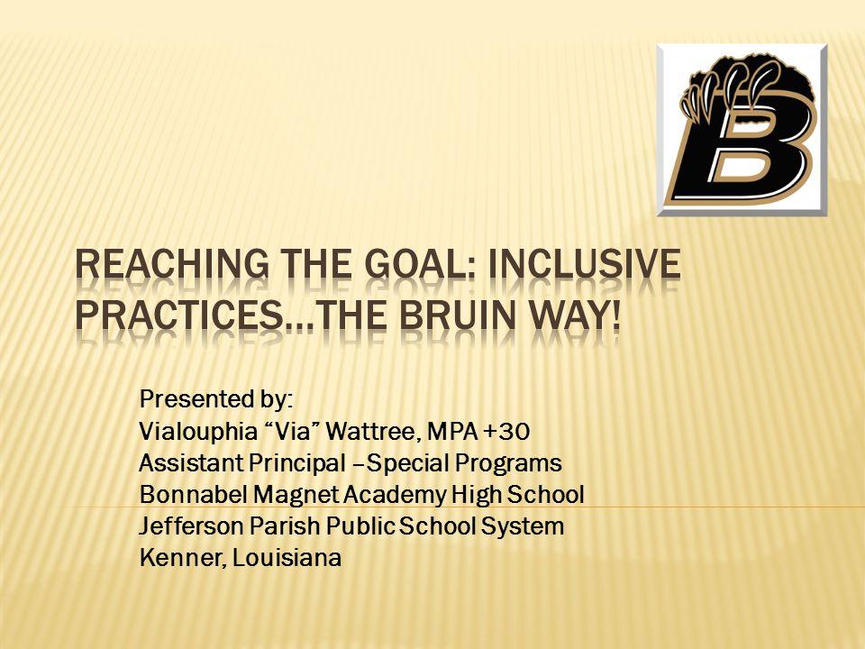 Presented by: Vialouphia Via Wattree, MPA +30 Assistant Principal –Special Programs Bonnabel Magnet Academy High School Jefferson Parish Public School System Kenner, Louisiana