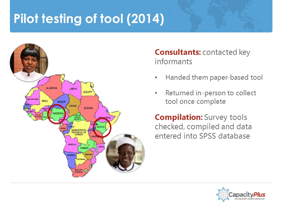 Pilot testing of tool (2014) 8 Consultants: contacted key informants Handed them paper-based tool Returned in-person to collect tool once complete Compilation: Survey tools checked, compiled and data entered into SPSS database