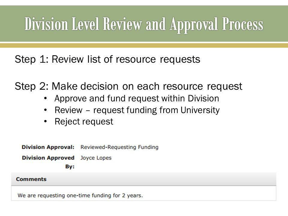 Step 1: Review list of resource requests Step 2: Make decision on each resource request Approve and fund request within Division Review – request fund