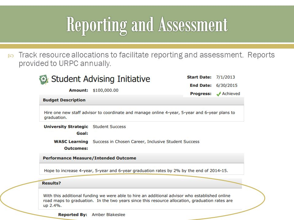  Track resource allocations to facilitate reporting and assessment.