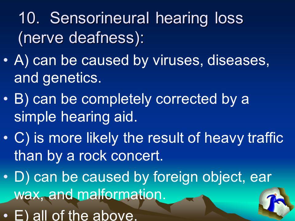 9. The ___ has the sensory receptors for sound consisting of tiny, hair-like fibers. A) ear canal B) stirrup C) basilar membrane D) tympanic membrane
