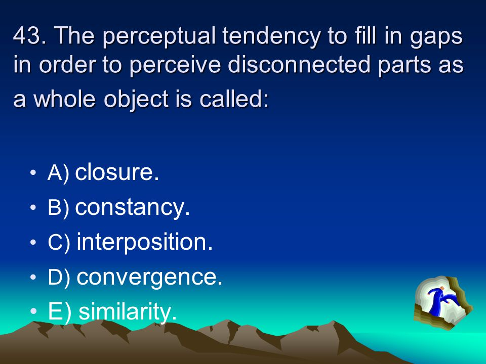 42.Retinal disparity refers to the: A) tendency to see parallel lines as coming together in the distance.