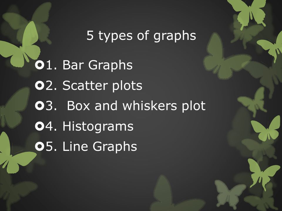 5 types of graphs  1. Bar Graphs  2. Scatter plots  3. Box and whiskers plot  4. Histograms  5. Line Graphs