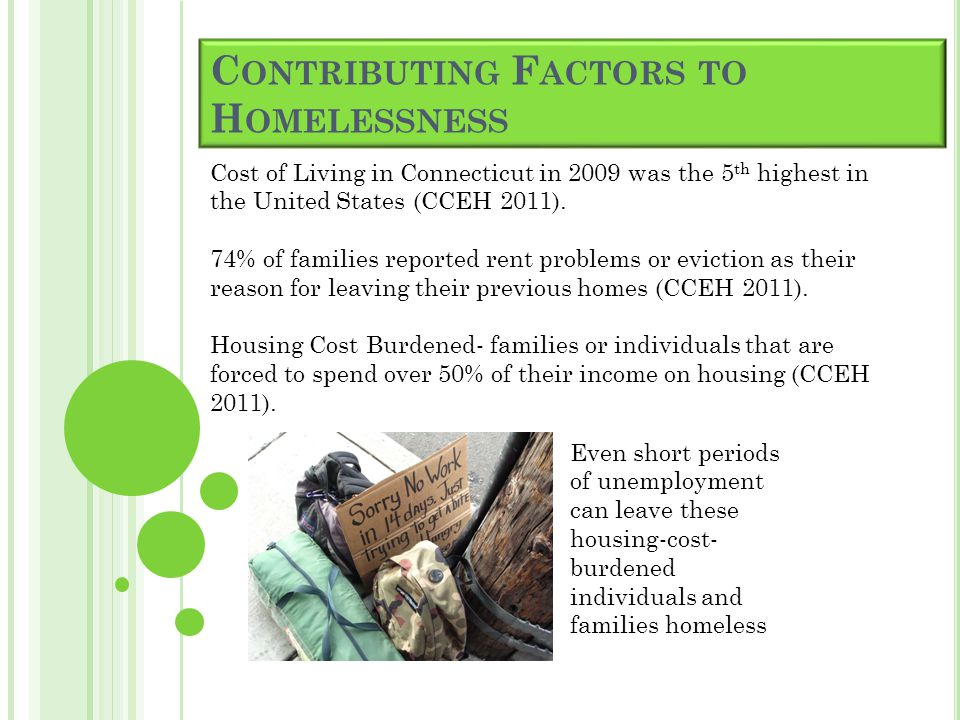 C ONTRIBUTING F ACTORS TO H OMELESSNESS Cost of Living in Connecticut in 2009 was the 5 th highest in the United States (CCEH 2011).