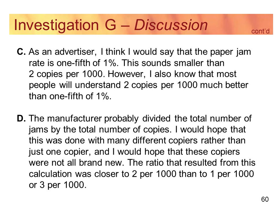 60 Investigation G – Discussion C.
