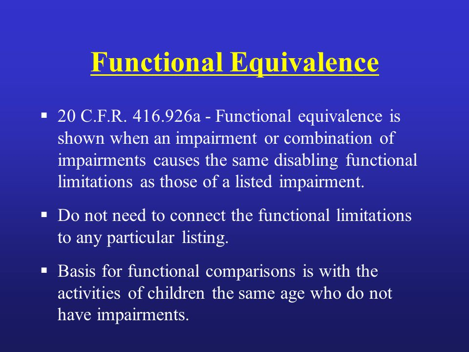 Functional Equivalence  20 C.F.R.