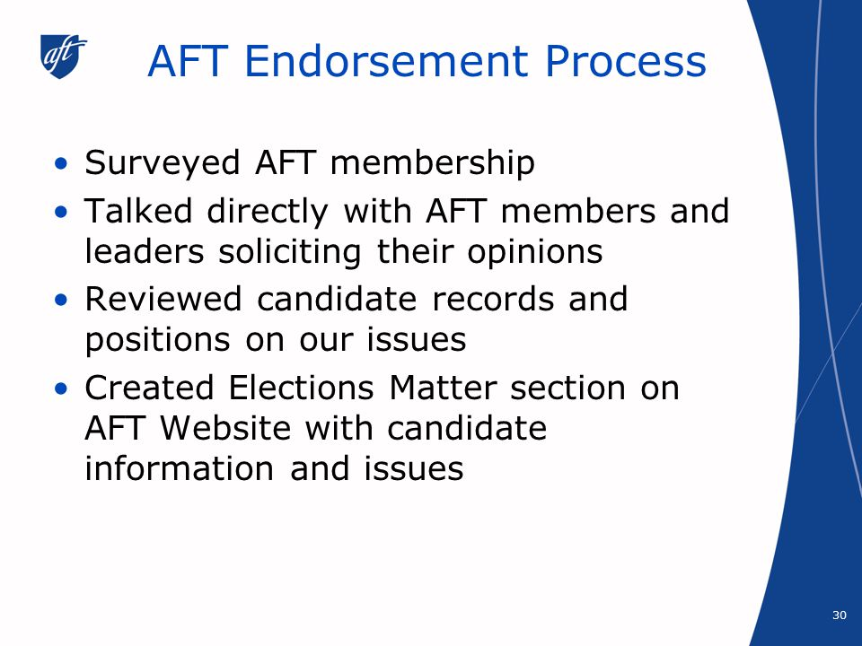 AFT Endorsement Process Surveyed AFT membership Talked directly with AFT members and leaders soliciting their opinions Reviewed candidate records and positions on our issues Created Elections Matter section on AFT Website with candidate information and issues 30