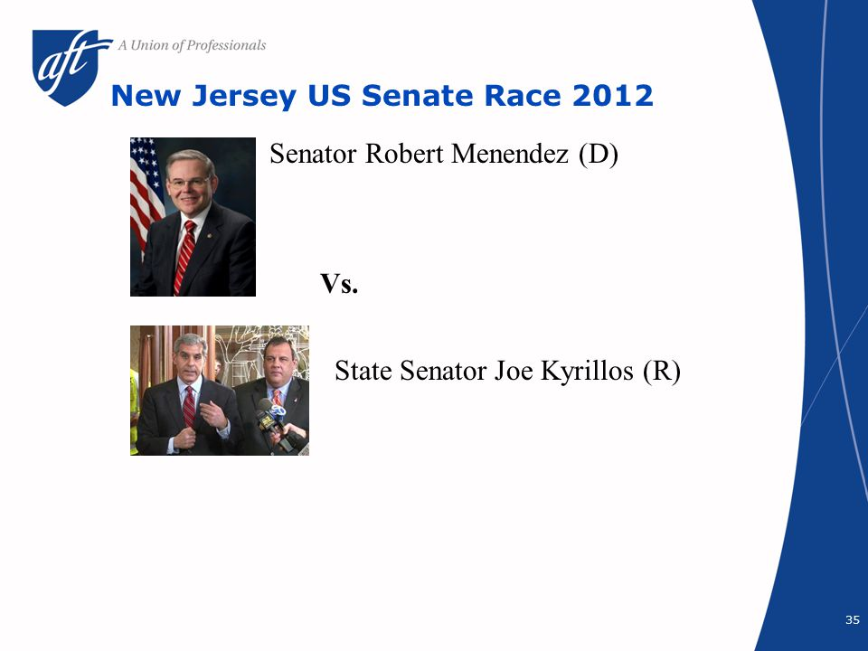 New Jersey US Senate Race 2012 35 Senator Robert Menendez (D) State Senator Joe Kyrillos (R) Vs.