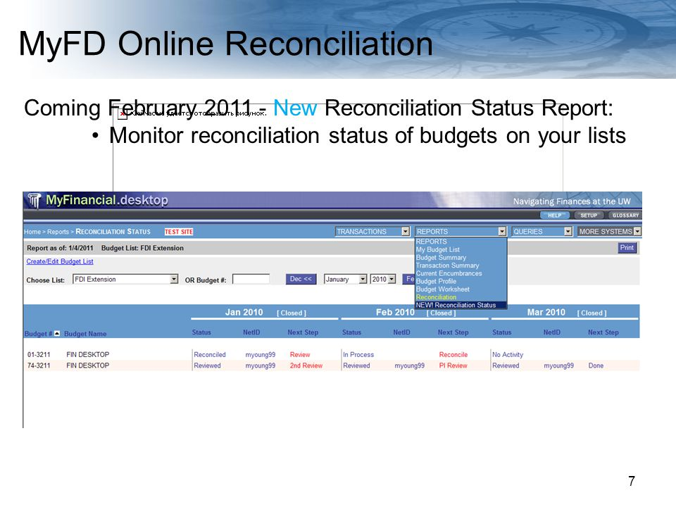 Navigating Finances at the UW 7 Coming February 2011 - New Reconciliation Status Report: Monitor reconciliation status of budgets on your lists MyFD Online Reconciliation