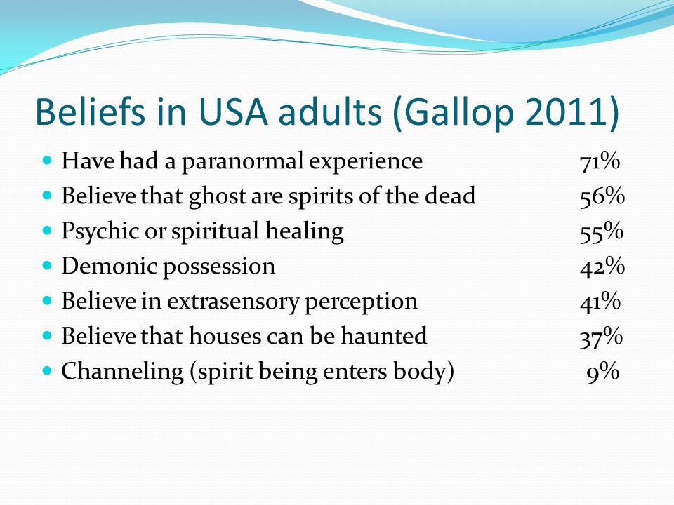 Beliefs in USA adults (Gallop 2011) Have had a paranormal experience71% Believe that ghost are spirits of the dead56% Psychic or spiritual healing55% Demonic possession42% Believe in extrasensory perception41% Believe that houses can be haunted37% Channeling (spirit being enters body) 9%