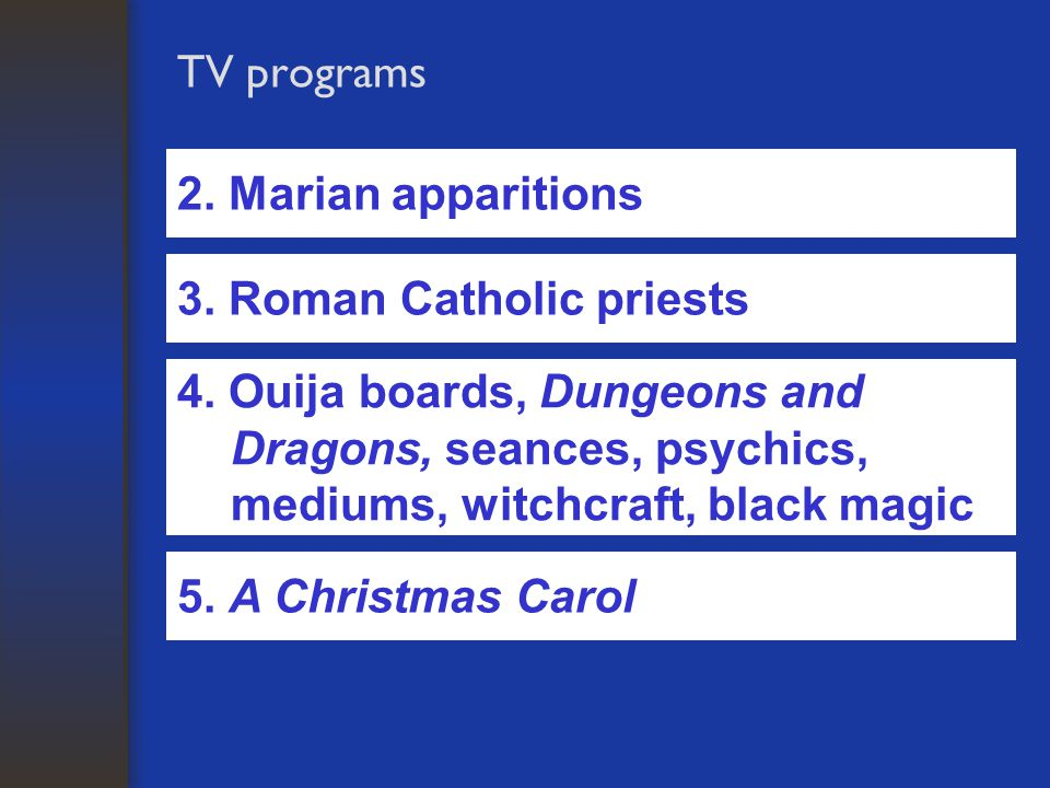 TV programs 2. Marian apparitions 3. Roman Catholic priests 4.
