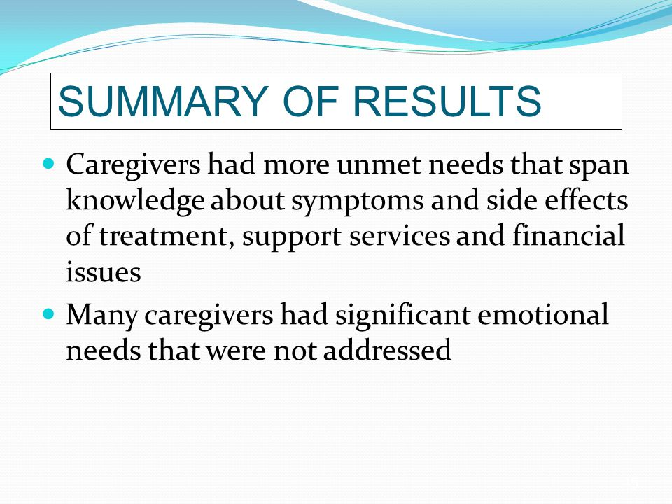 15 SUMMARY OF RESULTS Caregivers had more unmet needs that span knowledge about symptoms and side effects of treatment, support services and financial issues Many caregivers had significant emotional needs that were not addressed