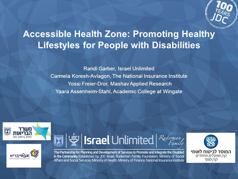 Accessible Health Zone: Promoting Healthy Lifestyles for People with Disabilities Randi Garber, Israel Unlimited Carmela Koresh-Avlagon, The National Insurance Institute Yossi Freier-Dror, Mashav Applied Research Yaara Assenheim-Stahl, Academic College at Wingate