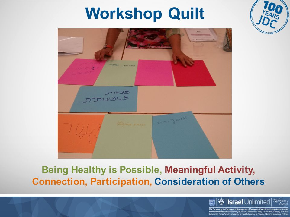 Workshop Quilt Being Healthy is Possible, Meaningful Activity, Connection, Participation, Consideration of Others