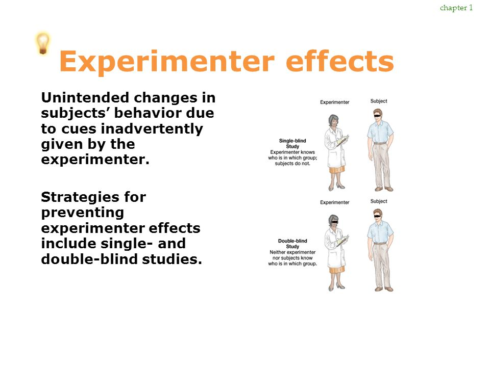 Experimenter effects Unintended changes in subjects' behavior due to cues inadvertently given by the experimenter. Strategies for preventing experimen