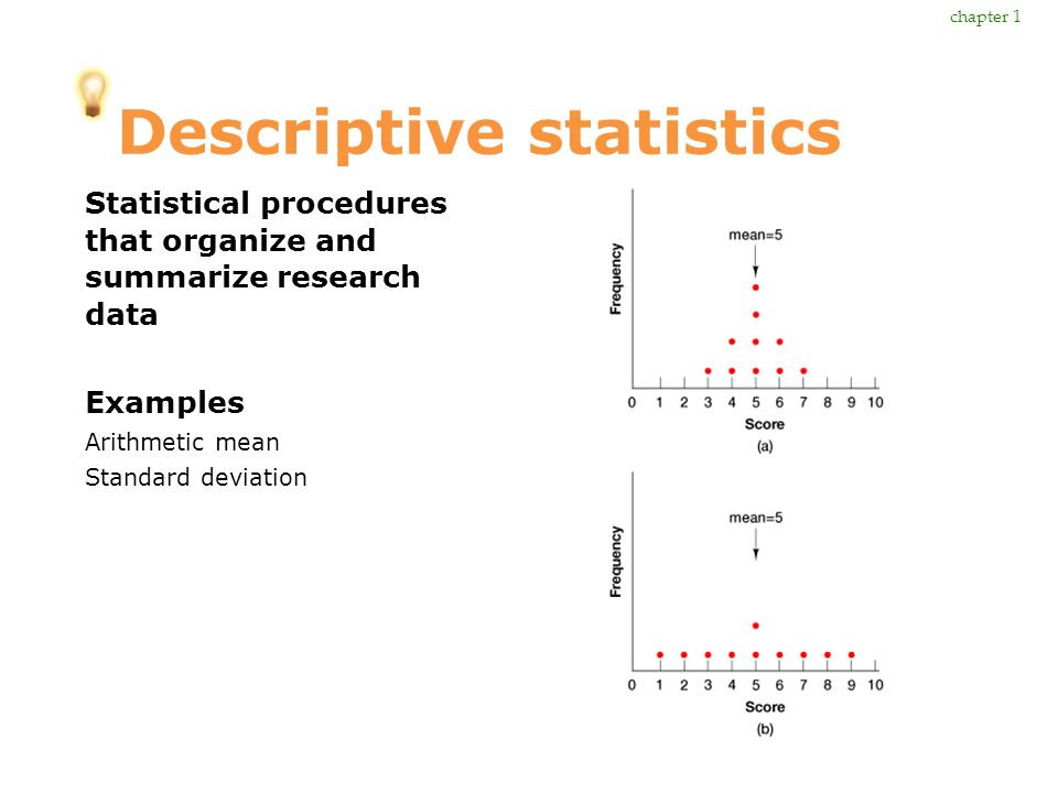 Descriptive statistics Statistical procedures that organize and summarize research data Examples Arithmetic mean Standard deviation chapter 1