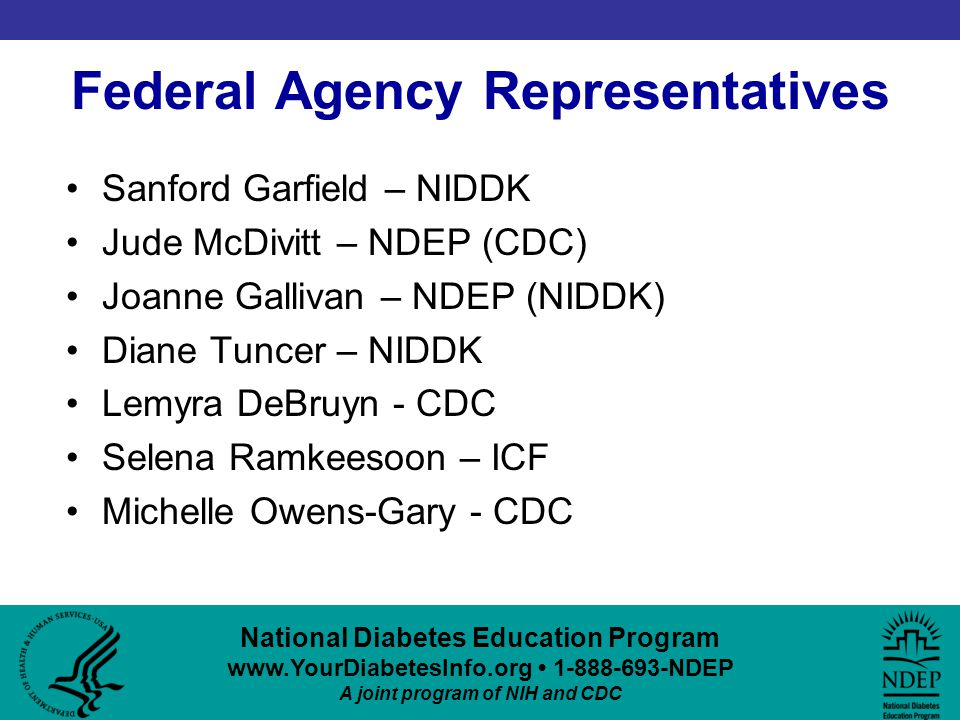 National Diabetes Education Program www.YourDiabetesInfo.org 1-888-693-NDEP A joint program of NIH and CDC Federal Agency Representatives Sanford Garfield – NIDDK Jude McDivitt – NDEP (CDC) Joanne Gallivan – NDEP (NIDDK) Diane Tuncer – NIDDK Lemyra DeBruyn - CDC Selena Ramkeesoon – ICF Michelle Owens-Gary - CDC
