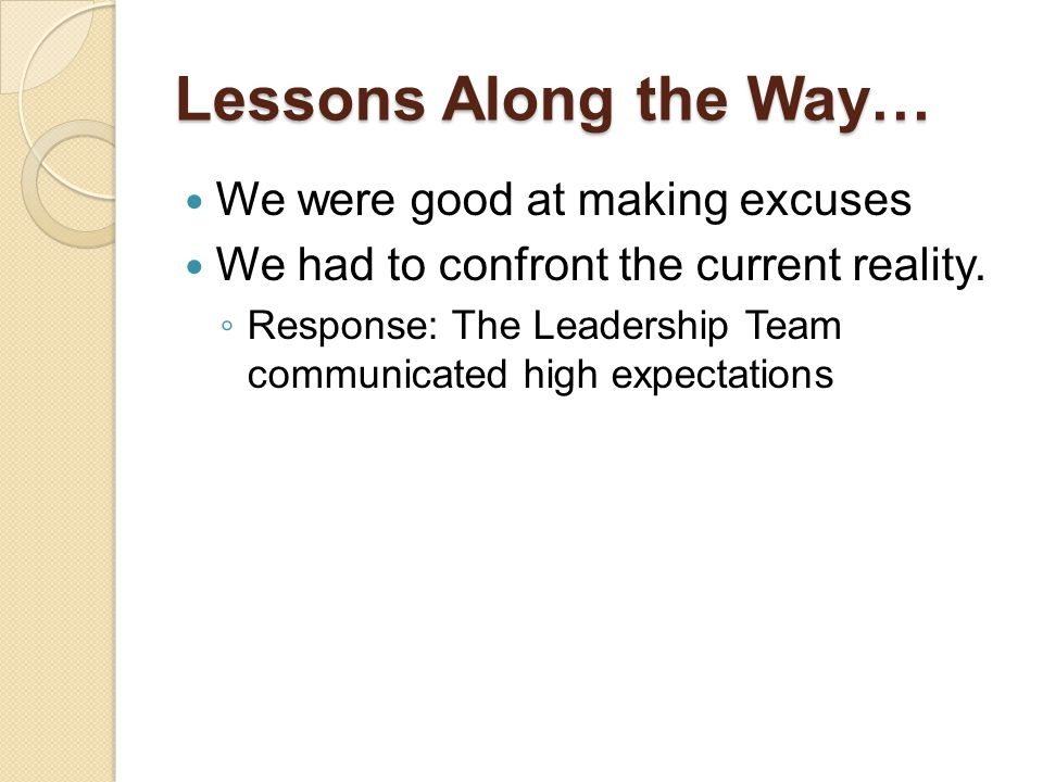 Lessons Along the Way… We were good at making excuses We had to confront the current reality. ◦ Response: The Leadership Team communicated high expect