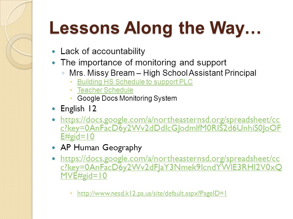Lessons Along the Way… Lack of accountability The importance of monitoring and support ◦ Mrs. Missy Bream – High School Assistant Principal  Building
