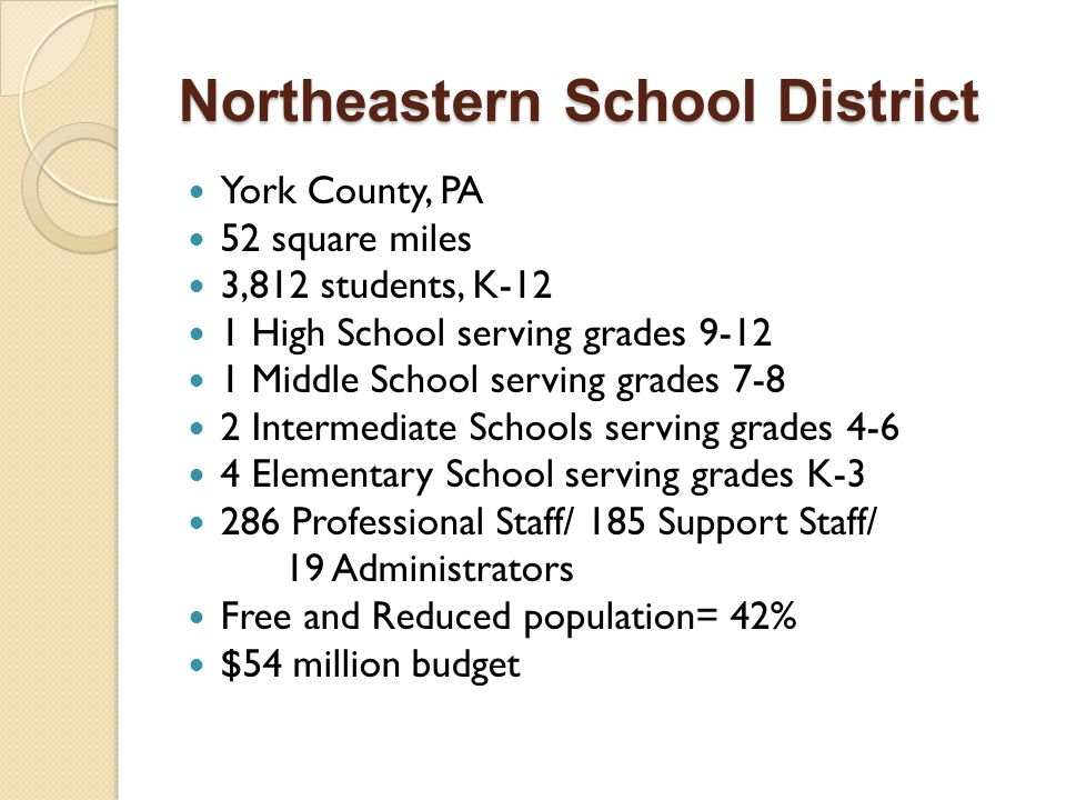 Northeastern School District York County, PA 52 square miles 3,812 students, K-12 1 High School serving grades 9-12 1 Middle School serving grades 7-8 2 Intermediate Schools serving grades 4-6 4 Elementary School serving grades K-3 286 Professional Staff/ 185 Support Staff/ 19 Administrators Free and Reduced population= 42% $54 million budget